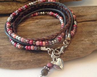 Wrap Bracelet, Boho Wrap, Beaded Leather Wrap Bracelet, Gypsy Wrap, natural leather, Pink and silver, Charm Bracelet, Gift for Her