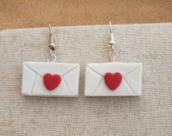 Polymer clay love letter earrings, envelope earrings, heart earrings