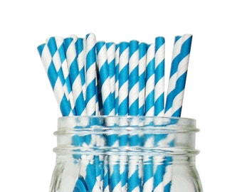 Teal Striped Party Paper Straws 25pcs SPS250082 Just Artifacts Brand