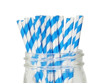 Blue Striped Party Paper Straws 25pcs SPS250064 Just Artifacts Brand