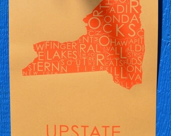 Upstate - Orange on Kraft PAPER!