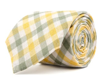 Green & Yellow Plaid Necktie