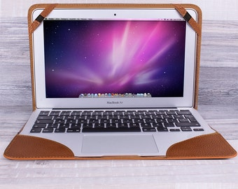"""Burkley Cover for Apple Macbook Air 11"""" in Floater Tan Leather"""