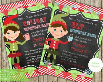 Elf Invite, Elf Girl or Boy Birthday Party Invitation - Holiday Party, Christmas Party, Printable Digital Invite
