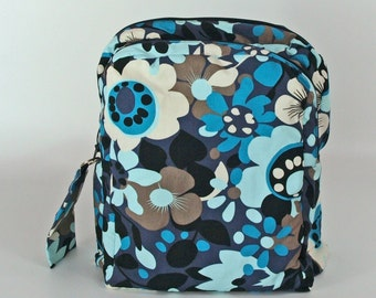 Retro blue and black backpack/ rucksack/ college backpack / school bag/ travel backpack back to school/ fabric backpack/ free UK p&p