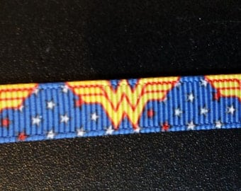 3/8 Inch Wonder Woman Superhero Inspired Grosgrain Ribbon for shoelaces, baby clothes, etc.