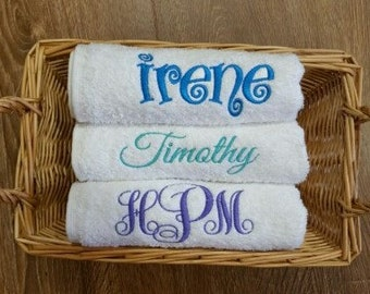 Hand Towel w/ Monogram (Personalized) Embroidered, Sporting events, Back to School, Summer Camp, Bridesmaid Gift