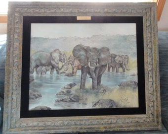 Vintaged Elephant Oil Painting Signed/Dated