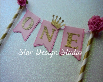 Shabby Chic Cake Topper Birthday Bunting- Cake Topper Paper straw Pink and Gold- Flower