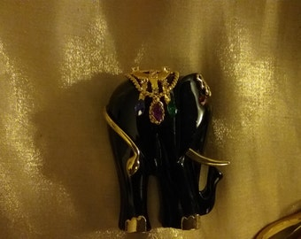 Vintage Black Elephant Brooch