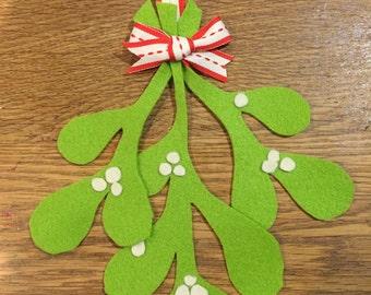 Bright green felt mistletoe decoration ornament