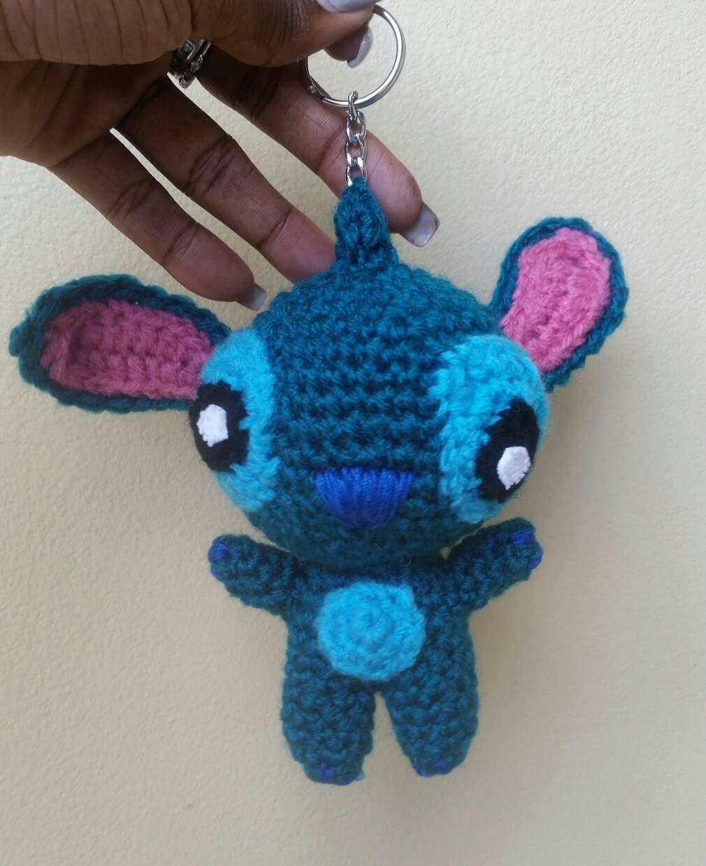 Amigurumi Keychain Loop : Crochet Lilo and Stitch Keychain/keyring Amigurumi Lilo and