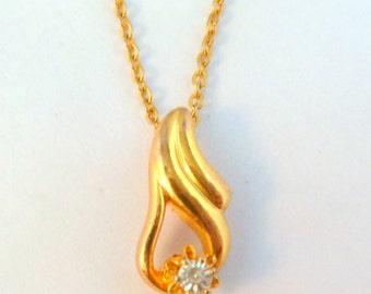 Vintage Movitex Teardrop Rhinestone Set Pendant And Necklace.