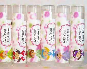 Spa Party Favors,  Personalized Lip Balm Party Favors-  Theme Birthday Party, Girls Party Favors Set of 6