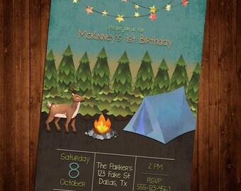 SALE 25% OFF Custom Watercolor Camping Invitation