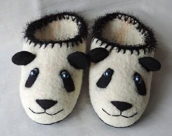 Handmade Felted slippers, Wool slippers, White black slippers panda, Woman slippers, Panda
