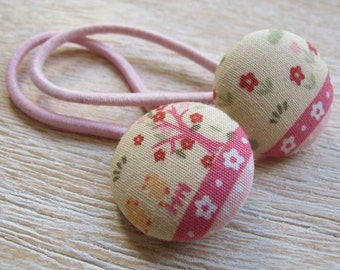 Fabric Covered Button Hair Elastic – Tree and Flower (Set of 2)