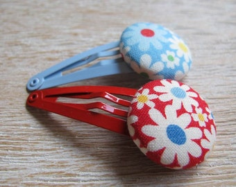 Fabric Covered Button Snap Clip - FLowers (Set of 2)