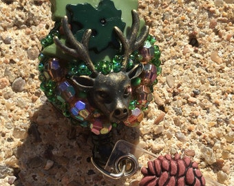 Buck camouflage, I love the outdoors bling badge holder