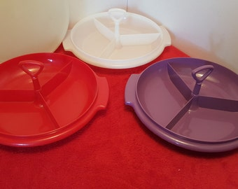 Vintage tupperware divided suzette container, relish tray, candy dish, nuts dish, tupperware #608, set of 2, 1 red, 1 white