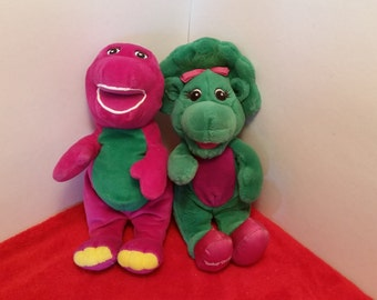 Vintage barney and baby bop plush dolls