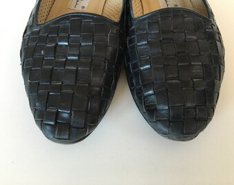 Enzo Angiolini Woven Leather Black Flats 6.5