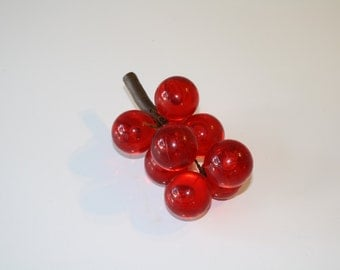Retro Red Orange Lucite Acrylic Grapes with Real Grapevine