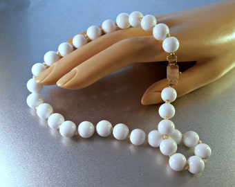 White Coral Bead Necklace 14K Rose Gold Clasp, Hand Knotted, 50 grams 10mm Beads, Bridal Wedding Jewelry