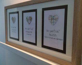 A Place in Your Heart - Triple Aperture * Upcycled Maps* Wedding/Engagement/Anniversary