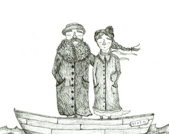 Holiday Couple, Boat, Nautical, Victorian Couple