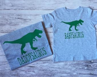 Mommy, Daddy and baby dinosaur t-shirts, matching father son shirts, new baby shirt, daddysaurus, babysaurus, t-rex, dinosaur birthday shirt
