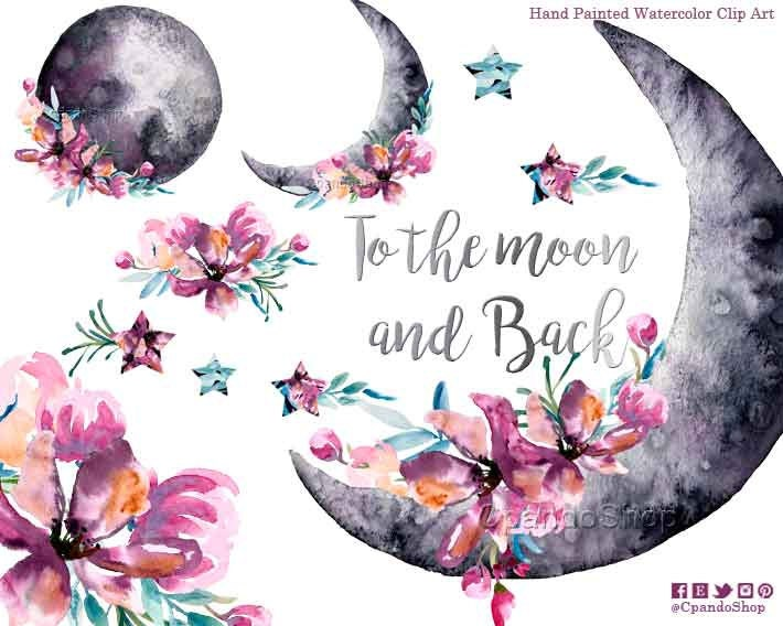 Floral Moon Moon Watercolor Clipart Space Png Stars Clip