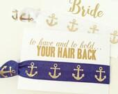 Nautical Bachelorette Hair Tie Favor | White + Gold Anchor Hair Tie Favors, Nautical Shower Hair Tie Favor, White Gold Anchor Hair Ties