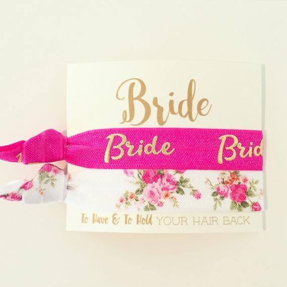 YOU CHOOSE Bridal Hair Tie Favor | Bride Hair Tie Gift, Pink + Gold Floral Rose Bride Bridal Wedding Shower Bachelorette Party Hair Tie Gift