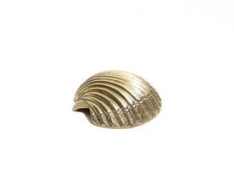 Vintage Brass Seashell - Nautical Decor - Beach Decor - Collectible Brass