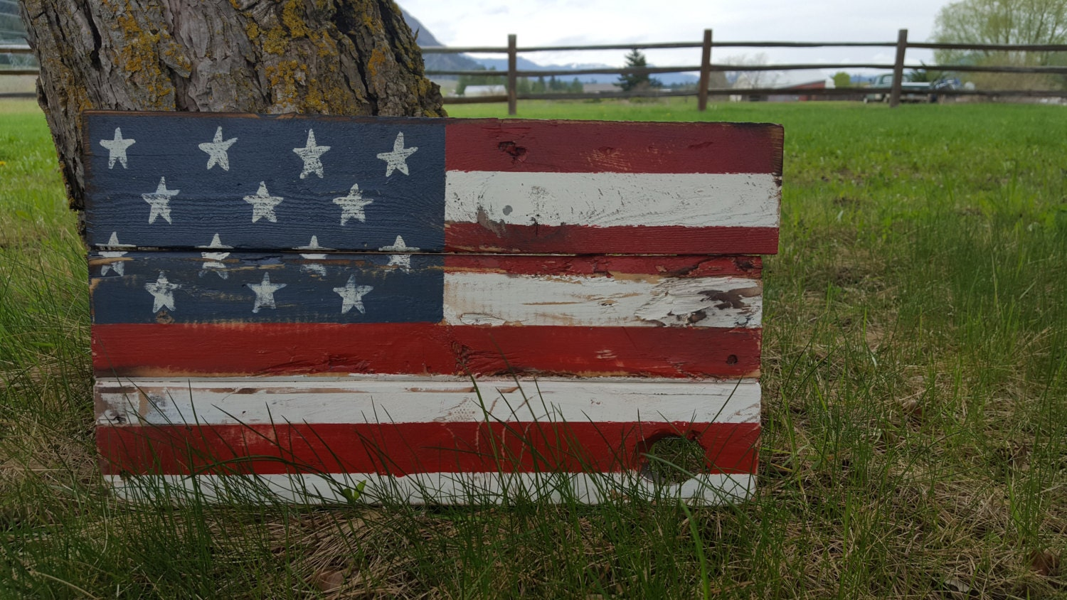 rustic distressed farmhouse style usa wooden flag front
