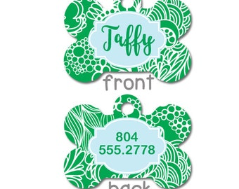 Green Preppy Personalized Pet ID Tag - Personalised Pet Tag - Custom Pet ID Tag -  Dog Collar Name Tag, Tags for Dogs