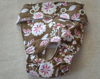 FREE SHIPPING. Dog diaper. In season diaper. Dog panty. Brown Floral. XX-Small