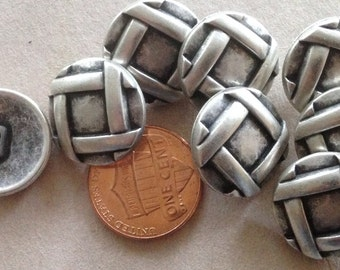 """Lot of 8 Antiqued Silver Tone Metal Shank Buttons 11/16"""" 18mm # 7403"""