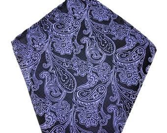 Mens Pocket Square. Black Blue Paisley. Handkerchief.Formal Suit .Pocket squares. Hanky. Tuxedo Tie Necktie Pocket Square.