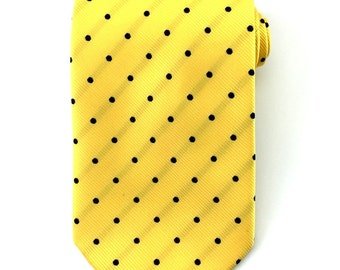 Mens Necktie Yellow tie with Navy Blue polka dots 8.5cm Necktie. Party Tie.Casual Tie.Handmade Tie. Formal Tie. Business Tie.Yellow tie
