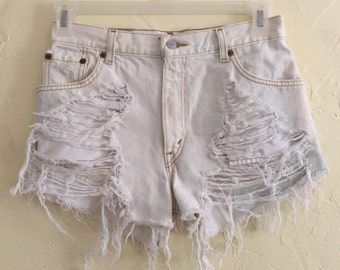 Distressed and Bleached High Waisted Levi Shorts