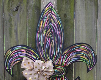 Fleur De Lis Wooden Door Hanger