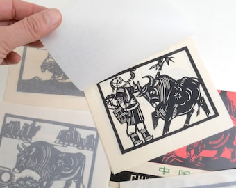 Vintage Chinese paper cuts, Asian art, antique Chinese drawings
