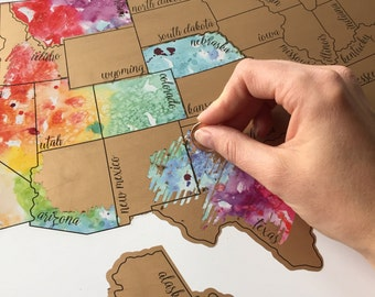 Been There Scratched That- United States of America (USA US) Watercolor Scratch Map