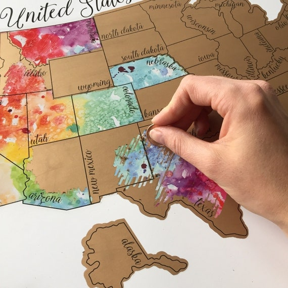 """Holiday Sale - Free Shipping - Personalized """"Been There Scratched That"""" - United States of America (USA US) Watercolor Scratch Off Map"""