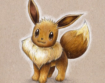 Pokemon - Eevee Pencil Portrait Print