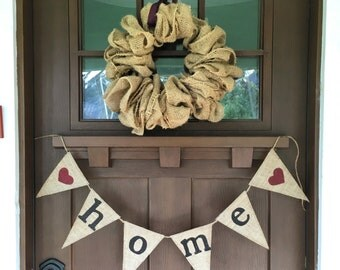 """Decorative """"home"""" heart banner from Four Hands Creations!"""