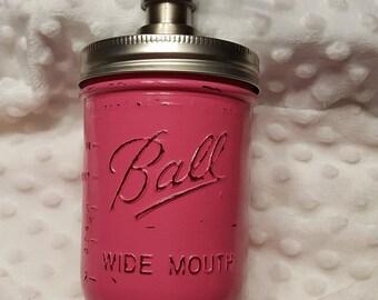 Mason Jar soap dispenser, Hot Pink, soap pump, housewarming, wedding gift, bathroom decor, kitchen decor, lotion dispenser, rustic, chic