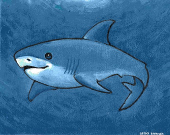 Blue Shark Original Painting on 8x10 Canvas Board Benefiting IRF